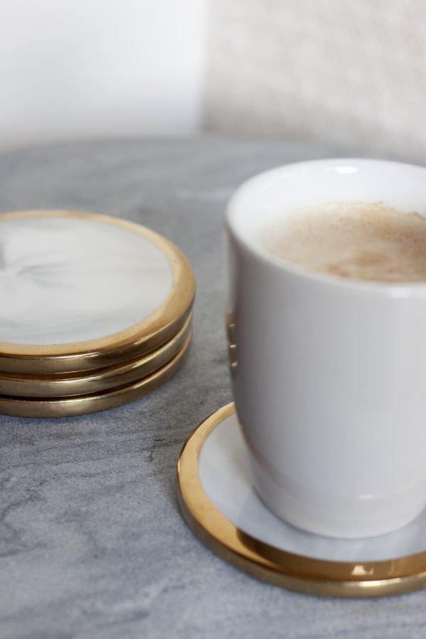 Onderzetter Rond Joost Marmer Goud koffie