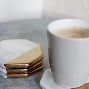 Onderzetter June Marmer Goud koffie