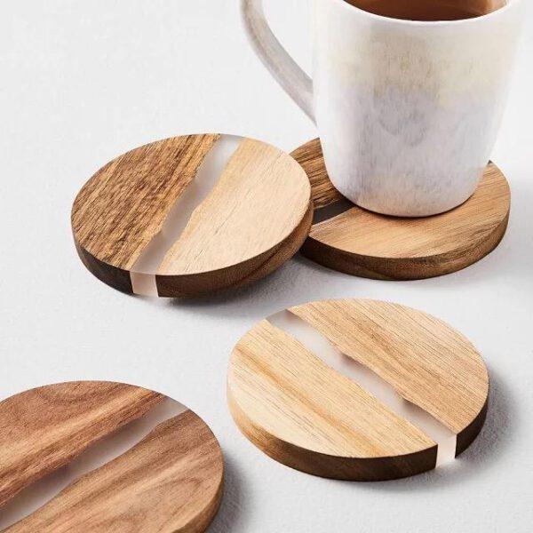 Houten onderzetter rond, epoxy, hout
